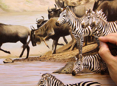 great migration painting - details being added