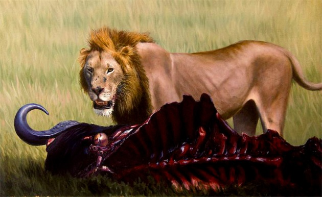 lion painting - wildlife art