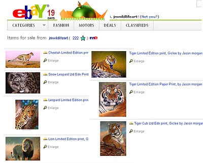 tiger prints on ebay - wildlife art