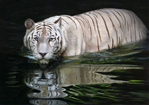 white tiger painting