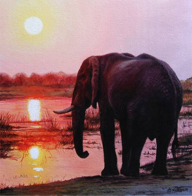 elephant sunset painting ebay