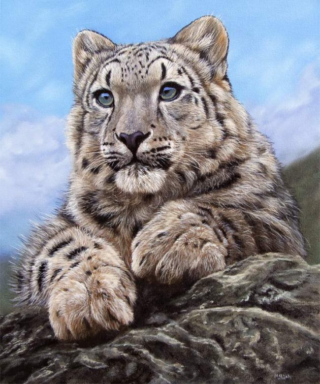 snow leopard cub painting on ebay